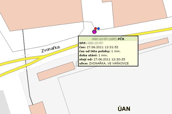 Sledování vozidel MP Brno – detail 2, zdroj: T-MAPY