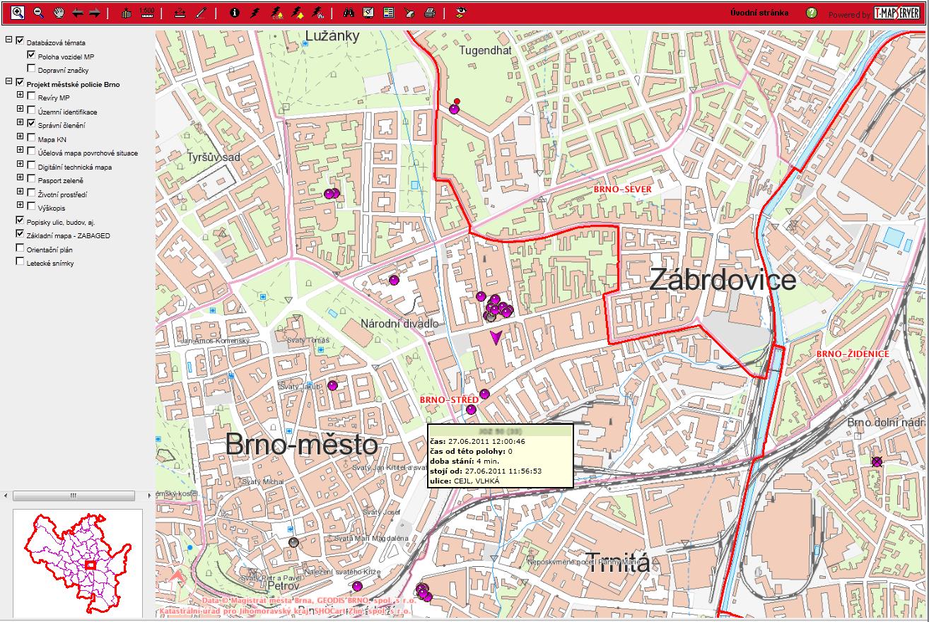 Sledování vozidel MP Brno – mapa 2, zdroj: T-MAPY