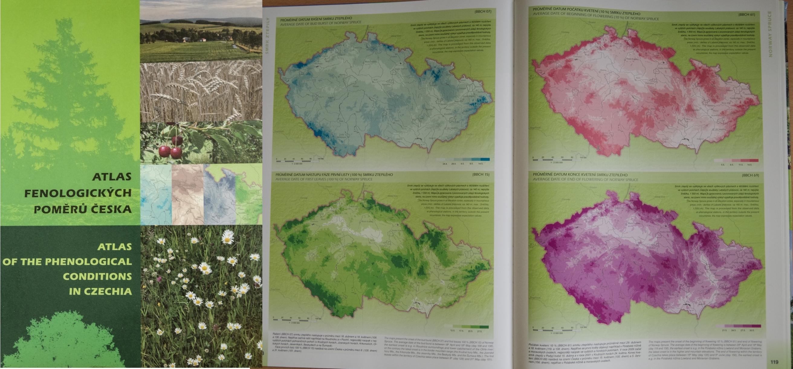 Atlas fenologických poměrů Česka  – Český hydrometeorologický ústav a Univerzita Palackého v Olomouci