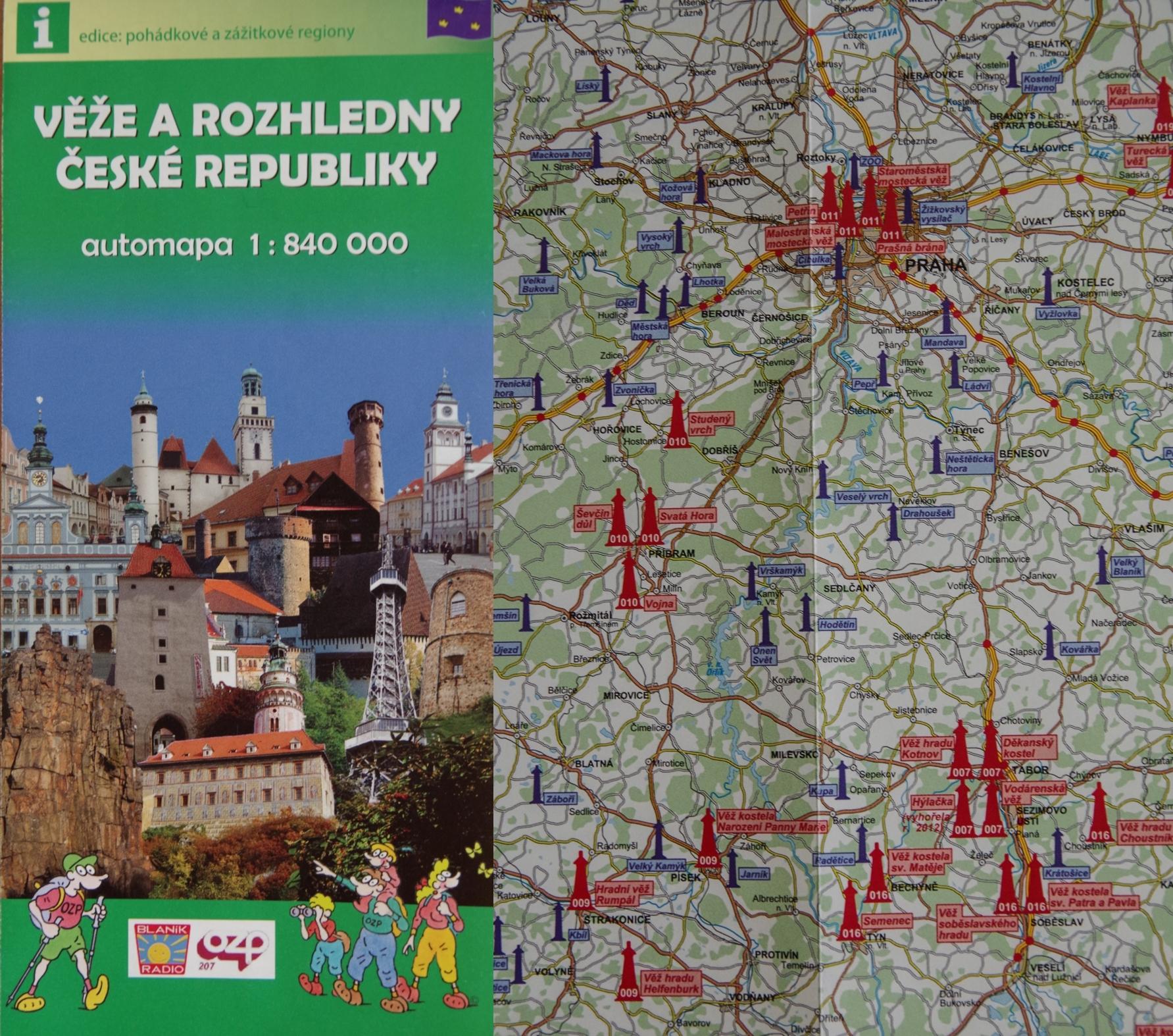 Věže a rozhledny České republiky 1 : 840 000 – Mapcentrum, spol. s r. o.